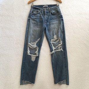 GRLFRND high rise straight leg Helena jeans